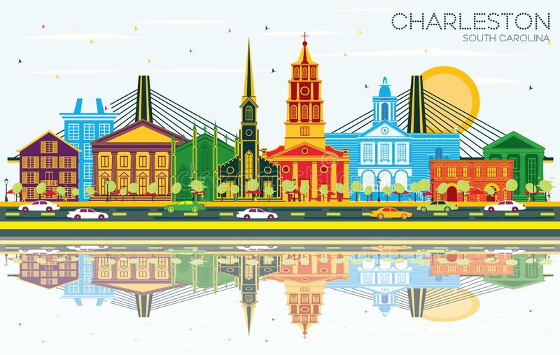 Charleston South Carolina City Skyline com construções da cor, o céu azul e as reflexões ilustração royalty free