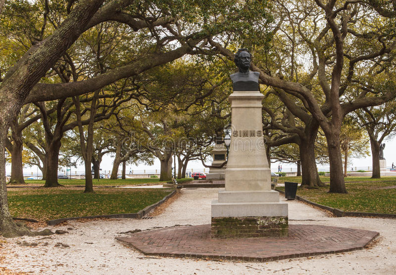 Charleston South Carolina Simms Monument Stock Photography