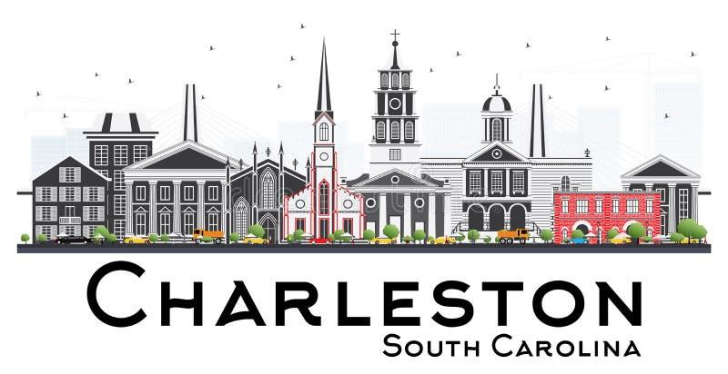 Charleston South Carolina Skyline avec Gray Buildings Isolated o illustration de vecteur