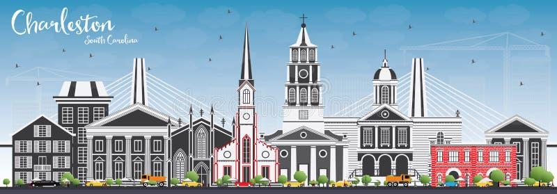 Charleston South Carolina Skyline com Gray Buildings e S azul ilustração stock
