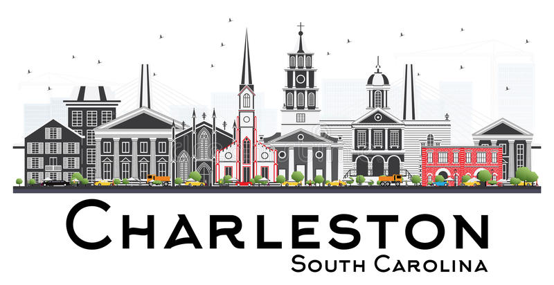 Charleston South Carolina Skyline com Gray Buildings Isolated o ilustração do vetor