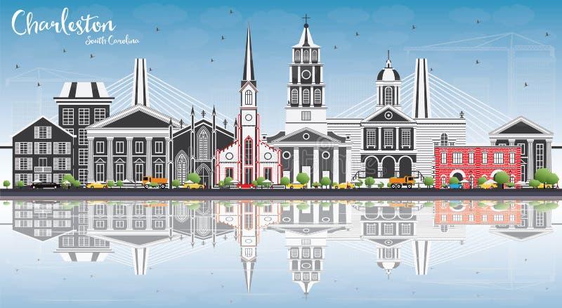 Charleston South Carolina Skyline met Gray Buildings, Blauwe Hemel stock illustratie
