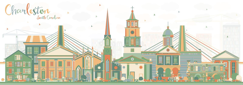 Charleston South Carolina Skyline met Kleurengebouwen vector illustratie