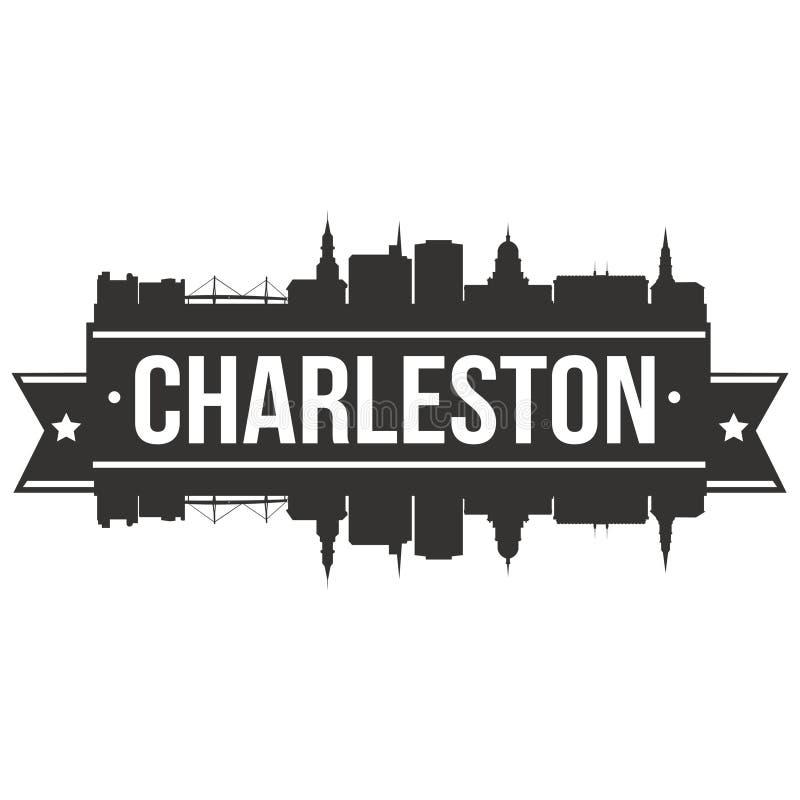 Charleston South Carolina United States do molde editável da silhueta de Art Design Skyline Flat City do vetor do ícone de Améric ilustração stock