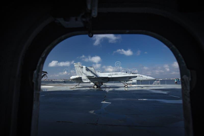 Charleston, South Carolina, United States, Novemner 2019, a F18 Hornet on the flight deck of the USS Yorktown stock images