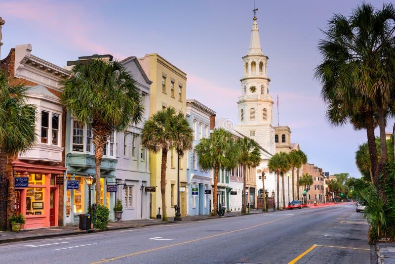 Charleston Street Scene. CHARLESTON, SOUTH CAROLINA - MAY 19, 2015: Shops line Broad street in the French Quarter. The French Quarter is within the original
