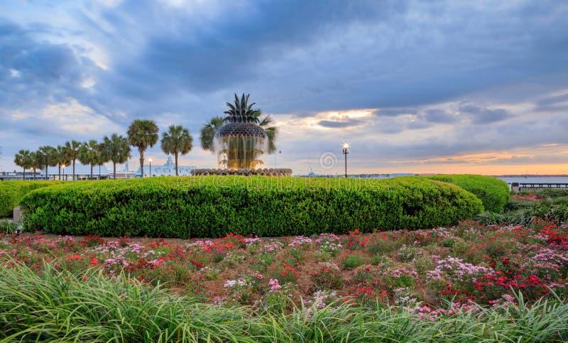 Charleston Waterfront Park Pineapple Fountain royalty-vrije stock foto's