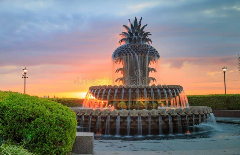 Charleston Waterfront Park Pineapple Fountain fotos de stock