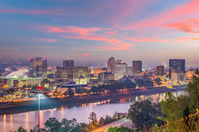 Charleston, West Virginia, USA Skyline. Over the river at twilight royalty free stock photo