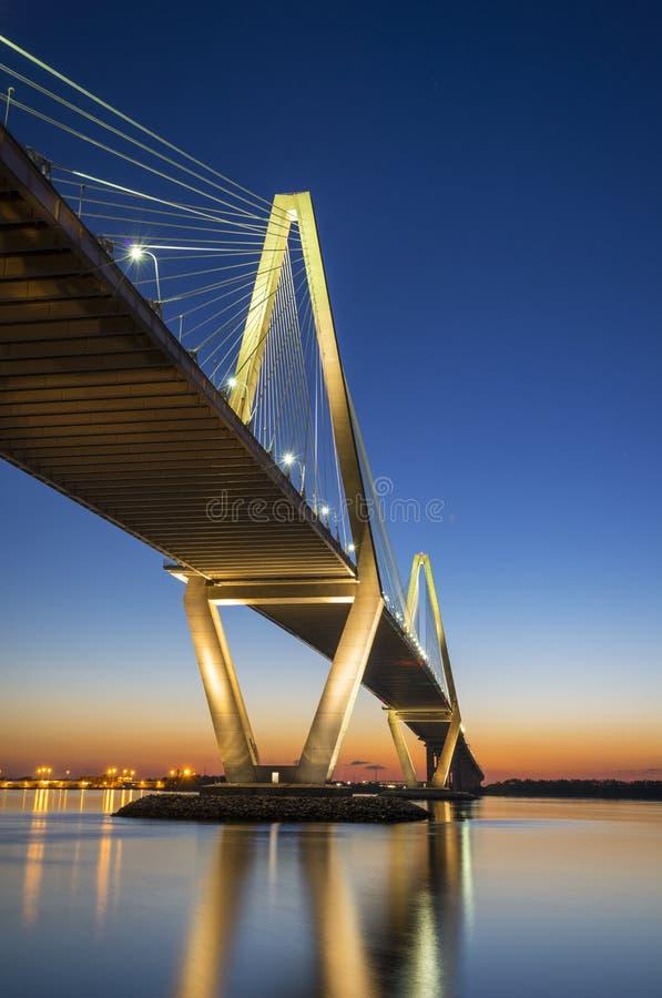 CharlestonSC Arthur Ravenel Jr. Upphängningbro över South Carolina arkivbild