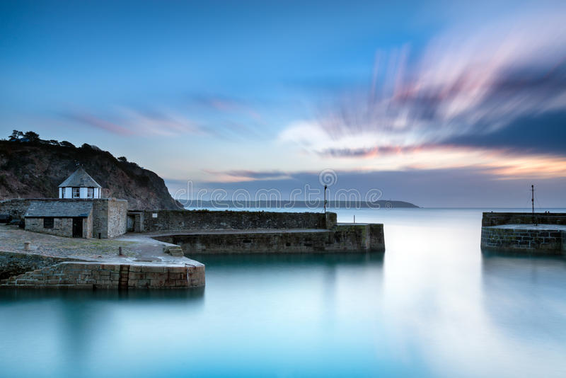Charlestown in Cornwall. A long exposure of the harbour at Charlestown near St Austel in Cornwall royalty free stock image
