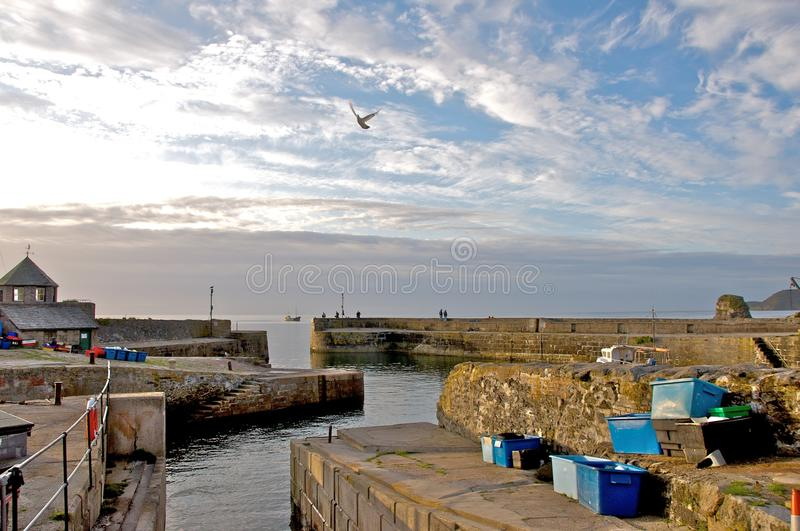 Charlestown Harbor. Charlestown harbour in Cornwall at sunset royalty free stock photo