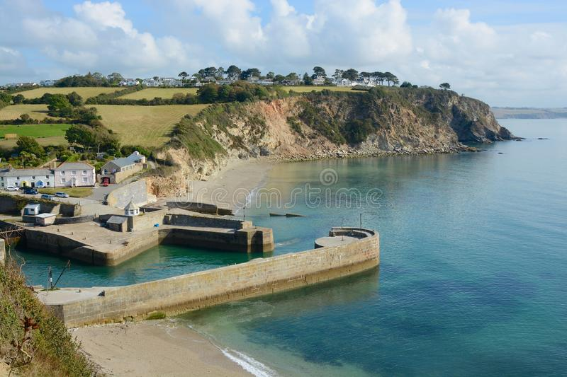 Charlestown Harbour, Cornwall, England. Charlestown Harbour and quay with houses. Cornwall. England stock photography