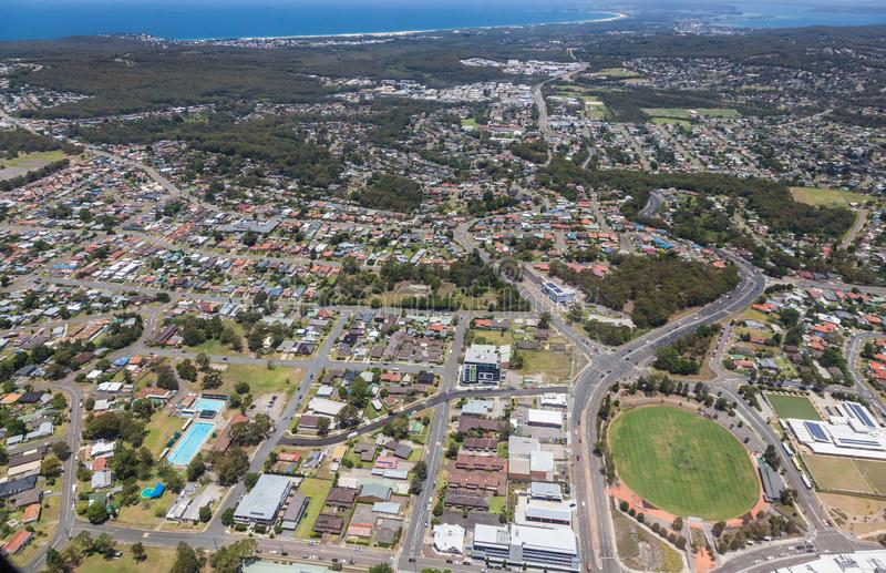 Charlestown and Suburbs Aerial View - Newcastle Australia. Aerial view of Charlestown and surrounding suburbs in Newcastle NSW Australia. Residential area south royalty free stock photo