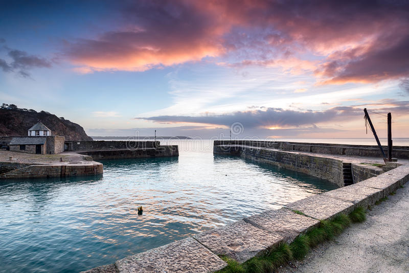 Charlestown. Sunrise at historic Charlestown harbour on the Cornwall coast near St Austell stock photography