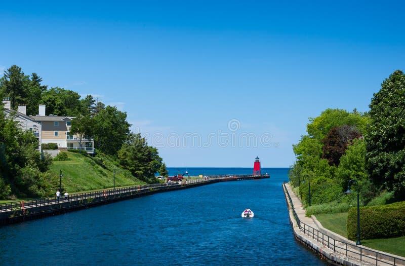 Charlevoix lighthouse on Lake Michigan. Lake Michigan and lighthouse in Charlevoix iN upper Michigan Peninsula royalty free stock photography