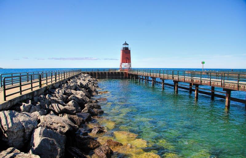 Charlevoix Michigan fyr royaltyfri fotografi