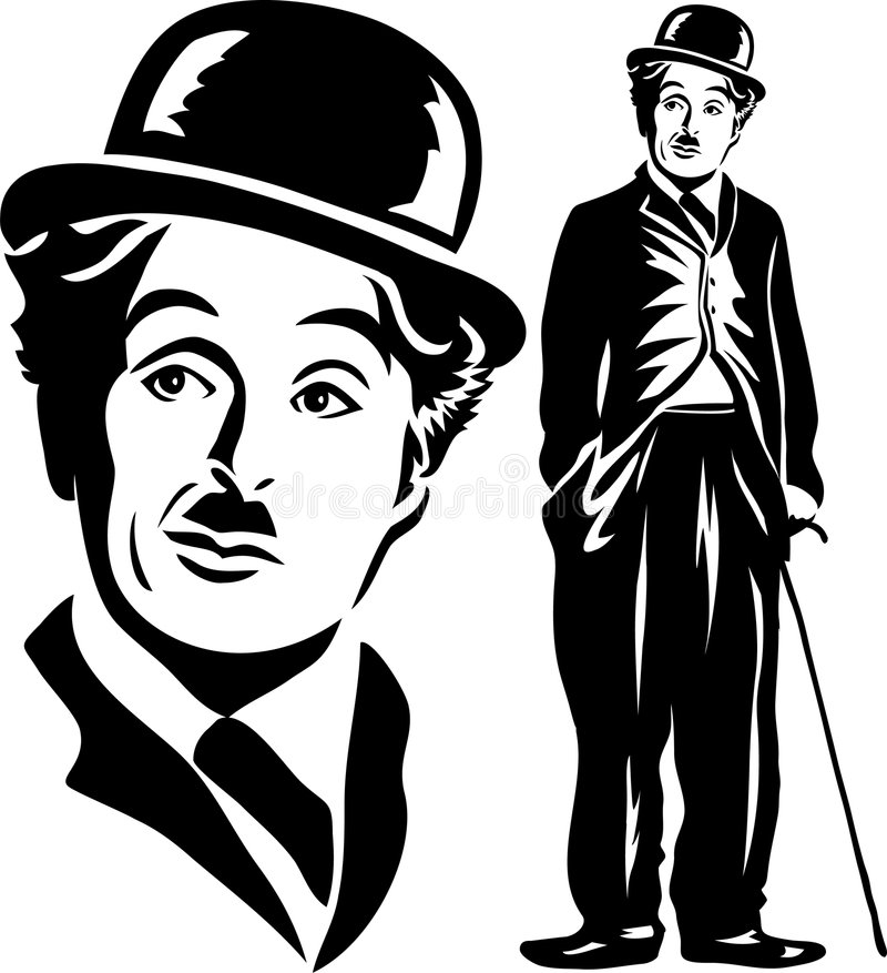 Charlie Chaplin/eps. Illustration of Charlie Chaplin playing his famous silent screen character, the little tramp