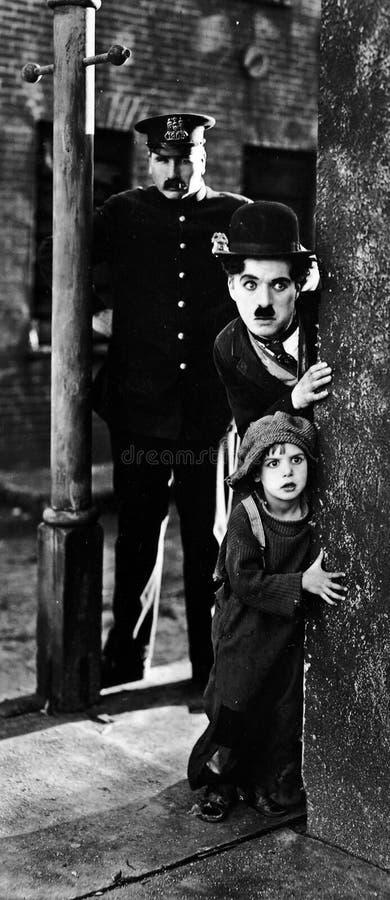 Charlie Chaplin in het Jonge geitje stock afbeelding