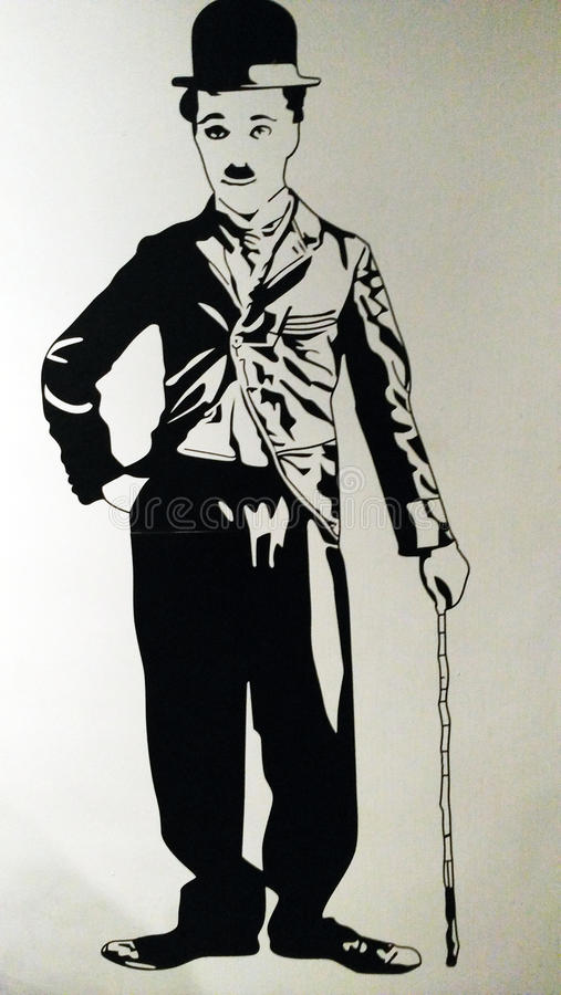 Charlie Chaplin illustration painting royalty free illustration