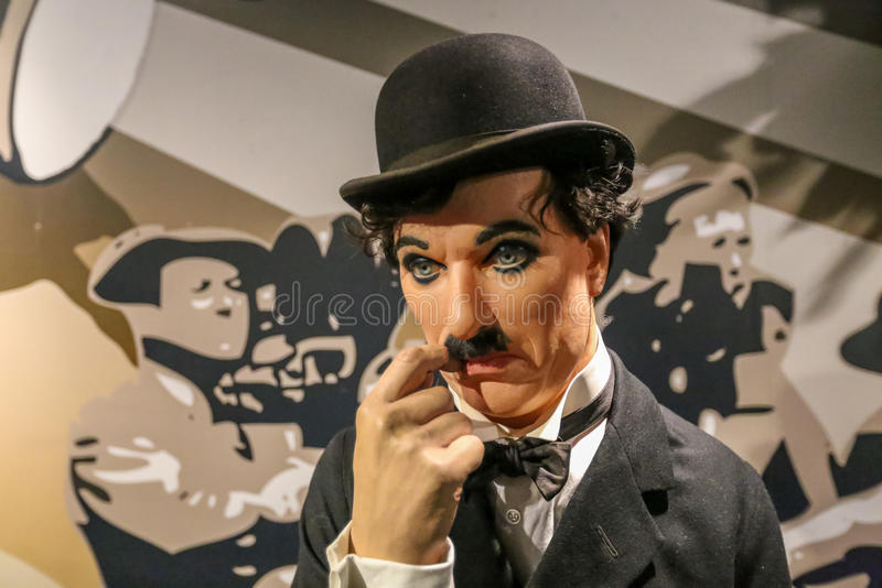 Charlie Chaplin. Charlie Chaplin in the Madame Tussauds museum. Madam Tussaud attraction, many tourists looking for it in Amsterdam. Place an unforgettable stock photos