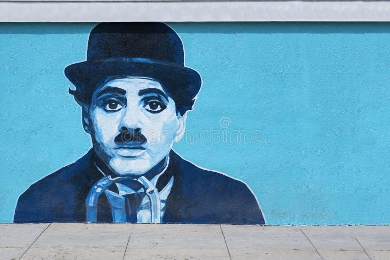 Charlie Chaplin malowidła ściennego graffiti na ścianie zdjęcie royalty free
