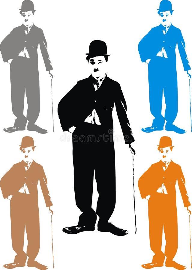 Charlie Chaplin - min karikatyr royaltyfri illustrationer