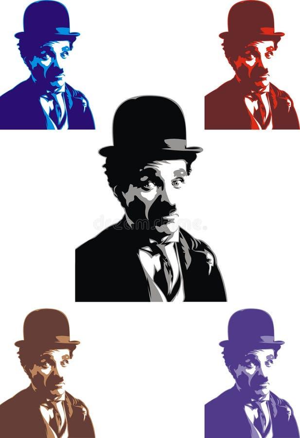Charlie Chaplin - min original- karikatyr vektor illustrationer