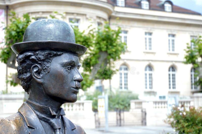 Charlie Chaplin monument i Vevey royaltyfria foton
