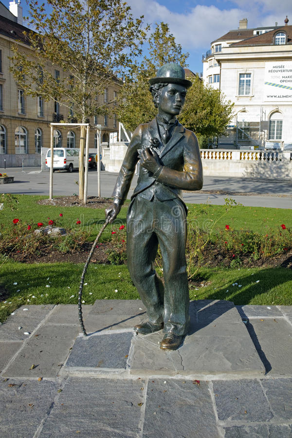 Charlie Chaplin-monument in stad van Vevey, kanton van Vaud royalty-vrije stock foto