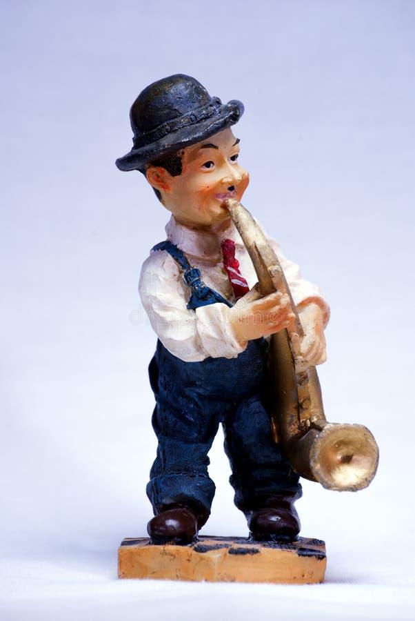 Charlie Chaplin-musicusherinnering met trompet royalty-vrije stock afbeeldingen