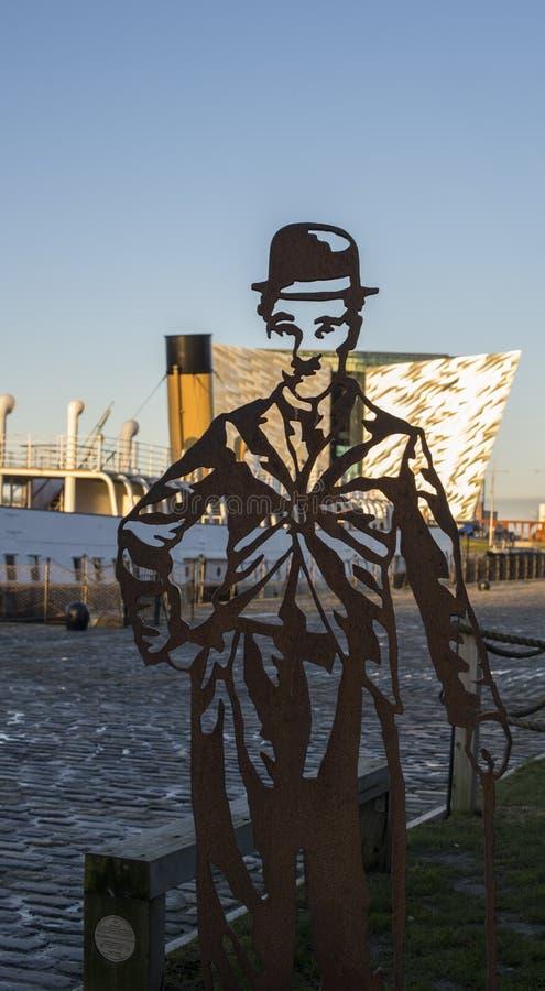 Charlie Chaplin på kolossala Belfast arkivbild