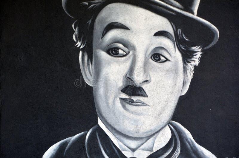Charlie Chaplin väggmålning arkivfoto