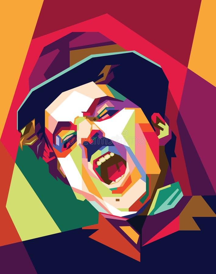 Charlie Chaplin wystrzału sztuka royalty ilustracja