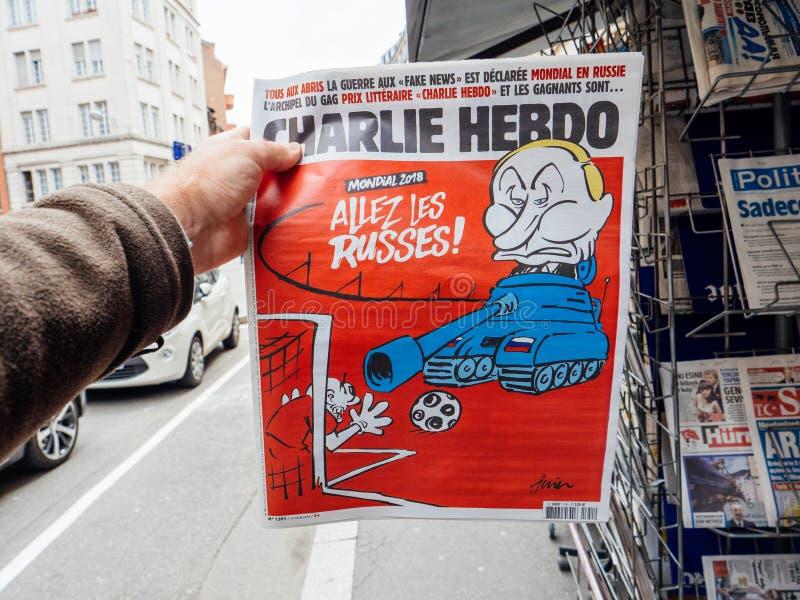 Charlie Hebdo på rysk karikatyr för president Vladimir Putin arkivbilder