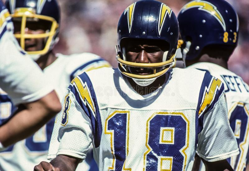 Charlie Joiner, San Diego Chargers WR fotografia de stock royalty free