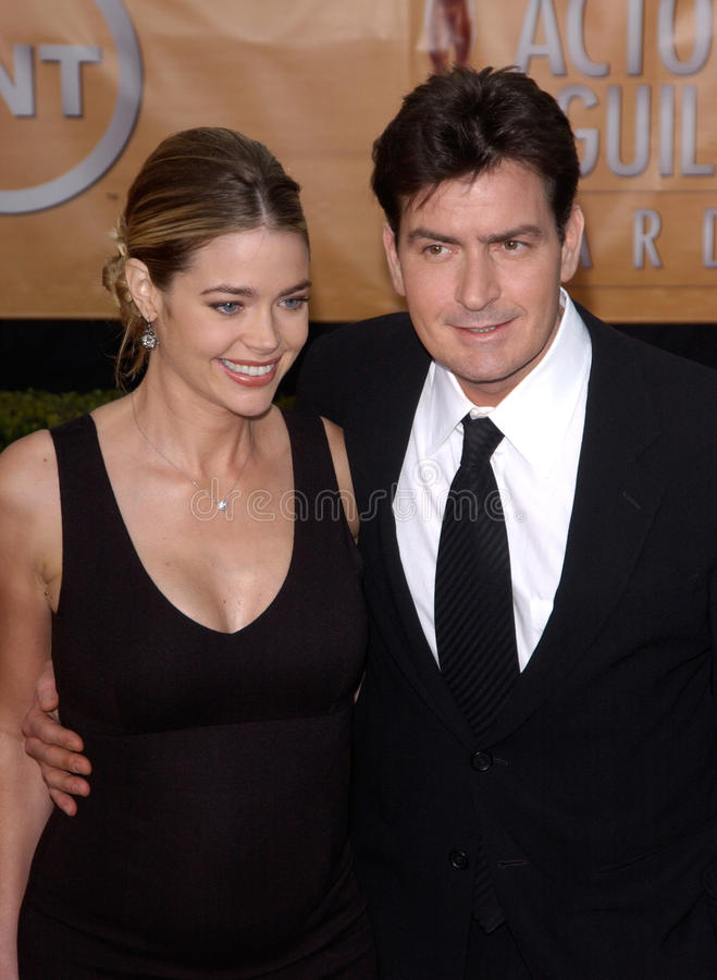 Charlie Sheen,Denise Richards. Feb 06, 2005: Los Angeles, CA: CHARLIE SHEEN & DENISE RICHARDS at the 11th Annual Screen Actors Guild Awards at the Shrine stock images