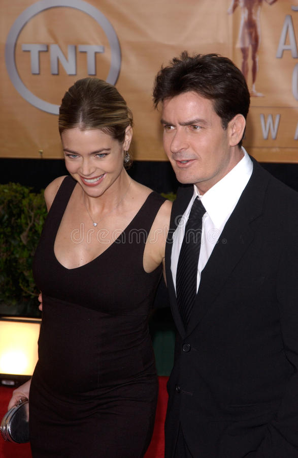 Charlie Sheen,Denise Richards. Feb 06, 2005: Los Angeles, CA: CHARLIE SHEEN & DENISE RICHARDS at the 11th Annual Screen Actors Guild Awards at the Shrine royalty free stock photography