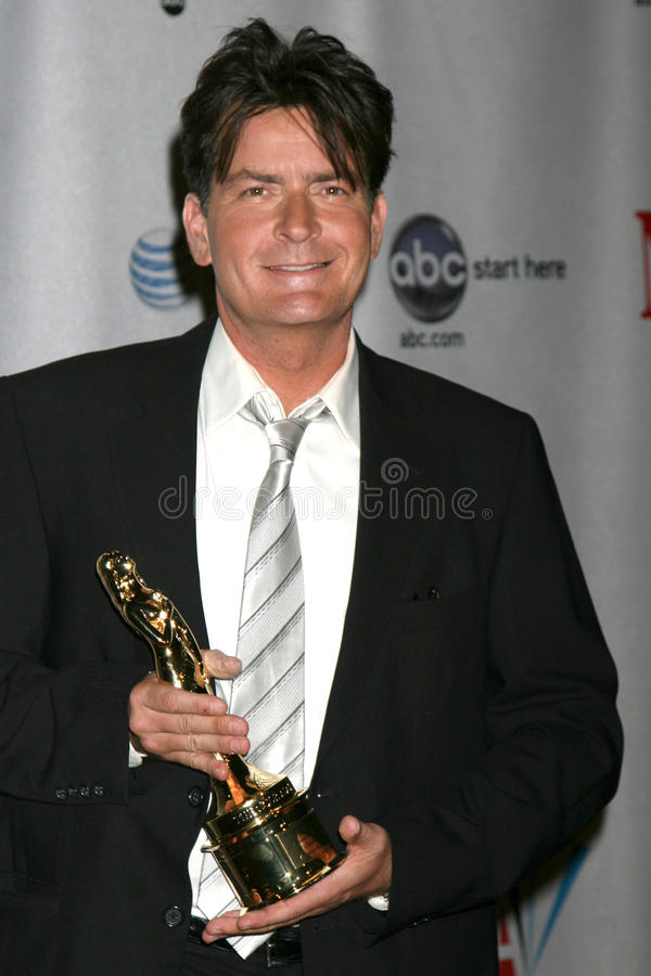 Charlie Sheen. In the Press Room at the ALMA Awards in Pasadena, CA on August 17, 2008 royalty free stock images