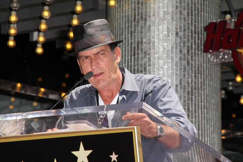 Charlie Sheen. At Slash Honored with a Star on the Hollywood Walk of Fame, Hollywood, CA 07-10-12 royalty free stock image
