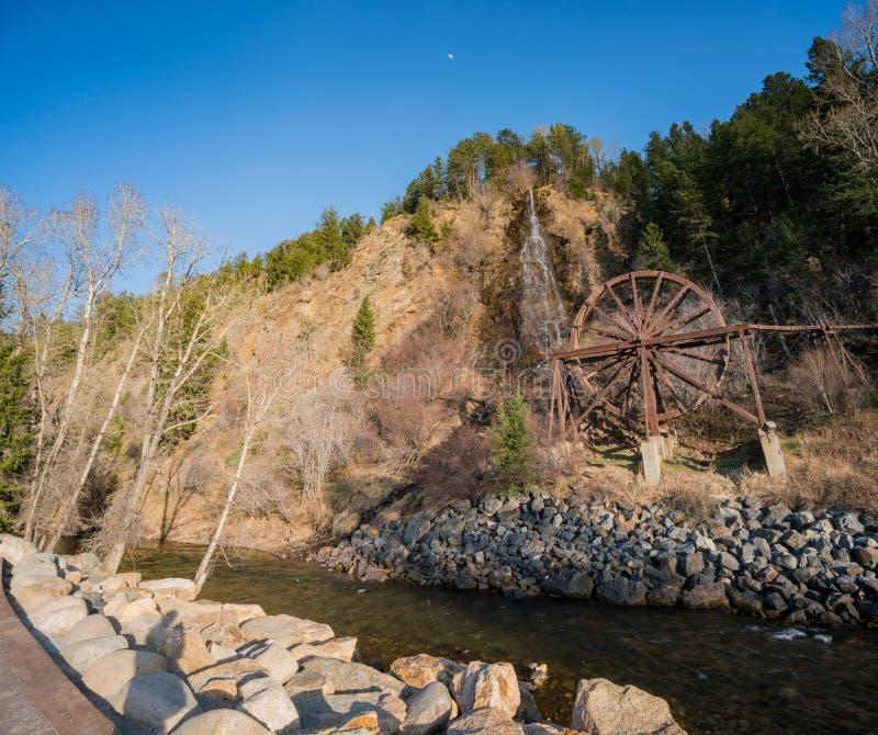 Charlie Tayler Water Wheel på Idaho vårar royaltyfria bilder