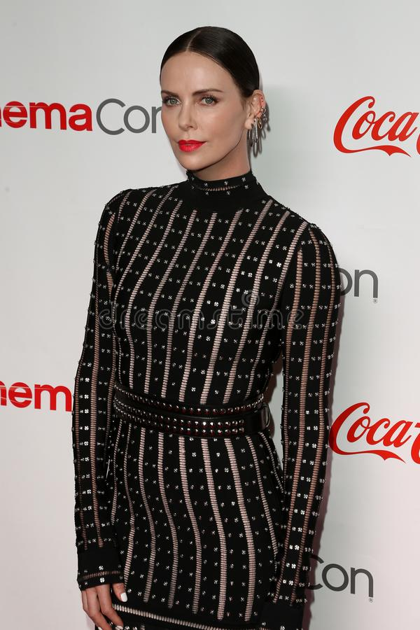 Charlize Theron. LAS VEGAS - APR 4: Charlize Theron attends The CinemaCon Big Screen Achievement Awards Brought to you by The Coca-Cola Company at OMNIA royalty free stock photos