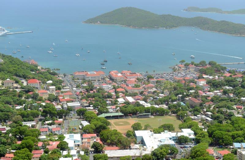Charlotte Amalie, Saint Thomas Island, US Virgin Islands. Town of Charlotte Amalie and Long Bay aerial view at Saint Thomas Island, US Virgin Islands, USA royalty free stock photo
