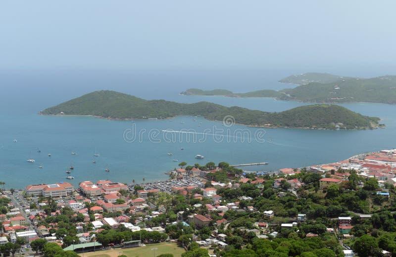 Charlotte Amalie, Saint Thomas Island, US Virgin Islands. Town of Charlotte Amalie, Long Bay and Hassel Island aerial view at Saint Thomas Island, US Virgin stock photos