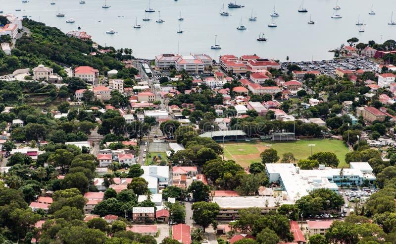 Charlotte Amalie St Thomas d'en haut image stock