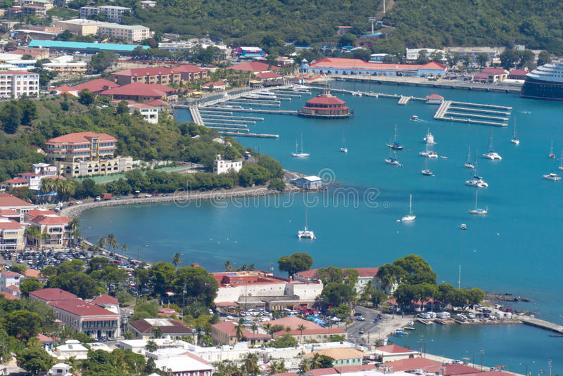 Charlotte Amalie, St Thomas, USVI. The port of Charlotte Amalie, St Thomas, US Virgin Island (ariel view royalty free stock photography