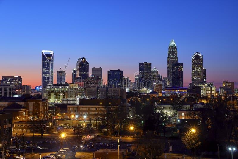 Charlotte, Carolina Skyline February del norte 2016 fotos de archivo