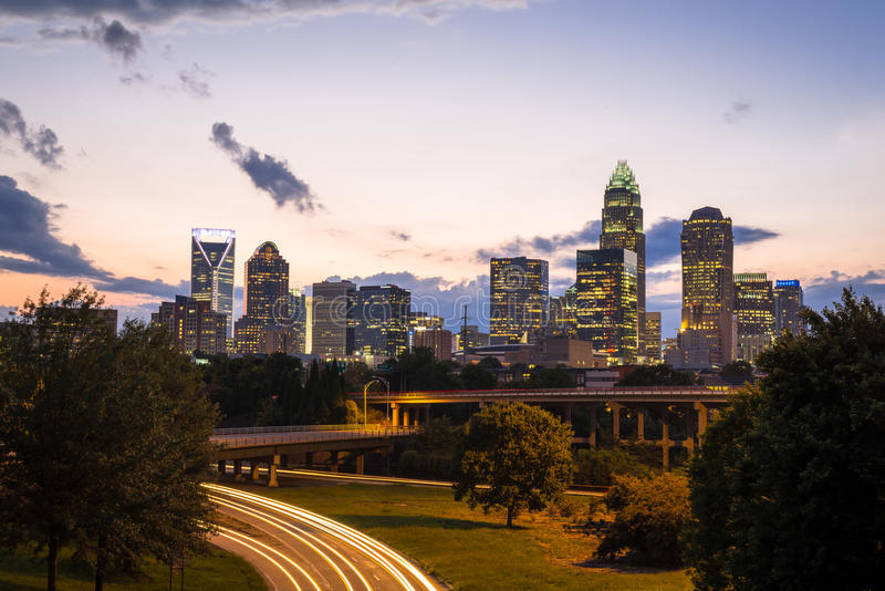 Charlotte, Carolina Sunset del nord 5 immagine stock