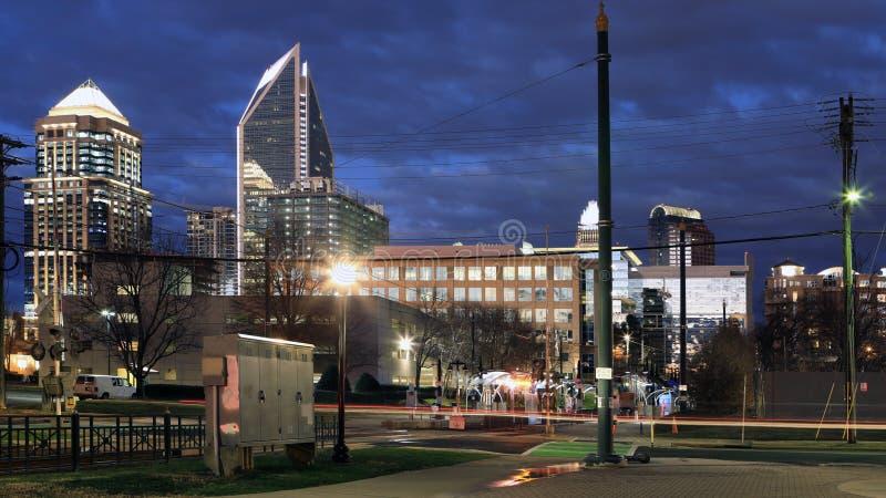 Charlotte, centro de los Estados Unidos después de la noche fotos de archivo libres de regalías