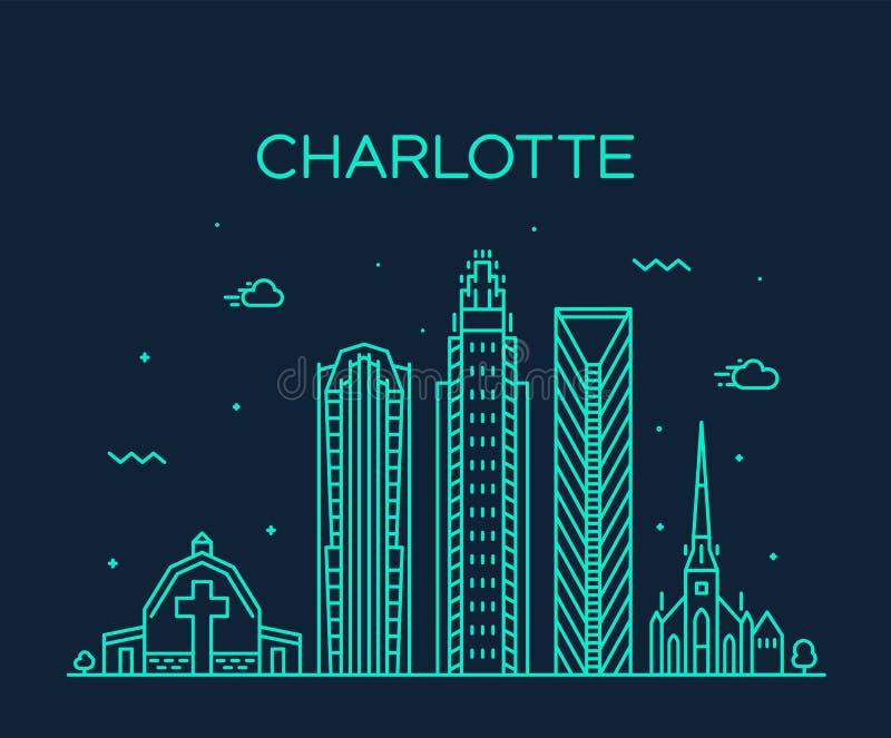 Charlotte city skyline, North Carolina, USA vector vector illustration